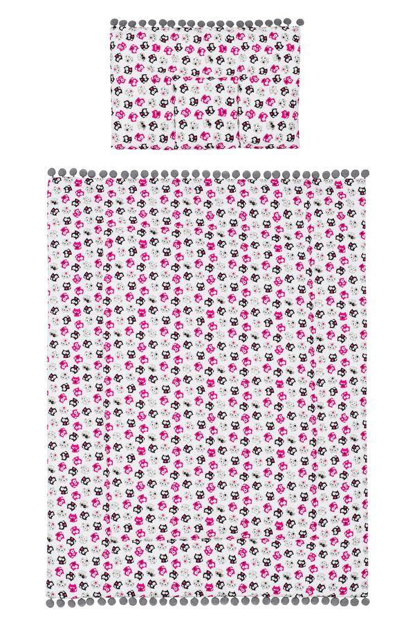 Belisimakołderka + podusia komplet do wózka Kotki 75x100 cm_Różowy