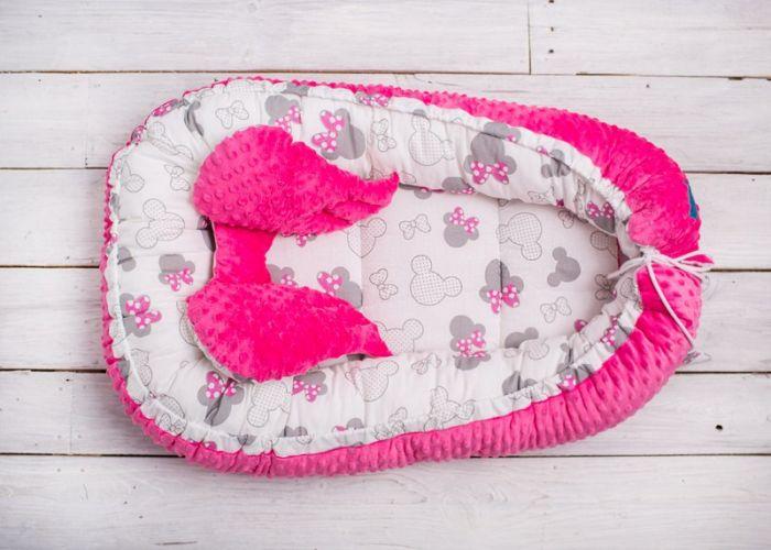 Belisima Kokon, otulacz, gniazdo niemowlęce Minky Różowe