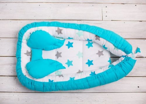 Belisima Kokon, otulacz, gniazdo niemowlęce bawełniane Niebieskie