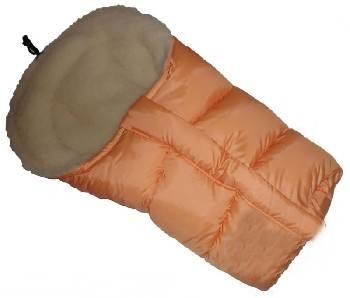Śpiworek do wózka z owczą wełną, przedłużany 90-110 cm kolor Pomarańczowy