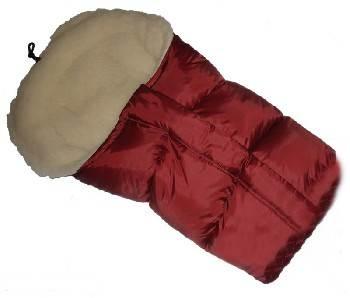 Śpiworek do wózka z owczą wełną, przedłużany 90-110 cm kolor Bordo