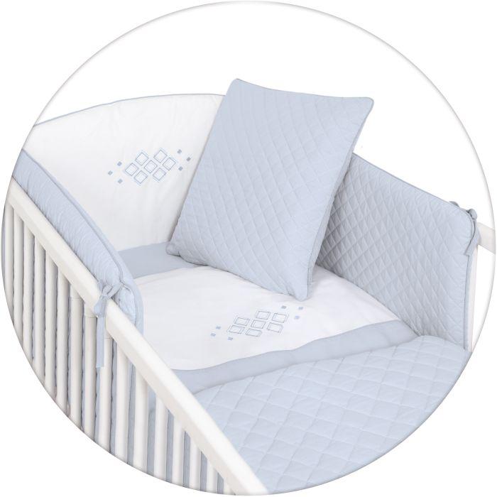 Ceba Baby pościel 5-elementowa Caro - poszewki na poduszeczki i kołderkę, ochraniacz, kocyk Niebieski