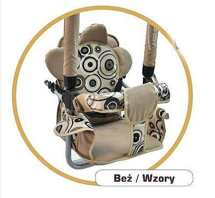 Super bezpieczna huśtawka Luna firmy Adbor dla dzieci do 20 kg_Beżowa wzory