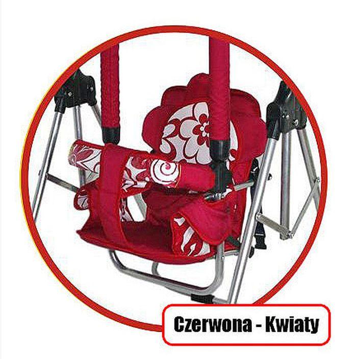 Super bezpieczna huśtawka Luna firmy Adbor dla dzieci do 20 kg_Czerwony kwiatyi