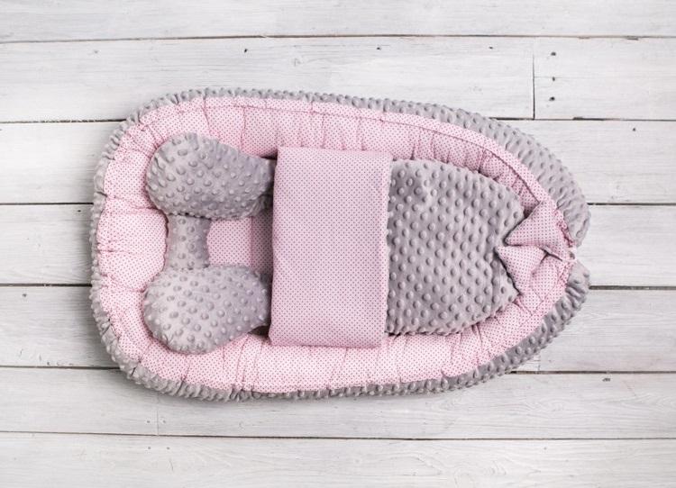 Belisima Kokon, otulacz, gniazdo niemowlęce Sweet Baby Minky Różowy