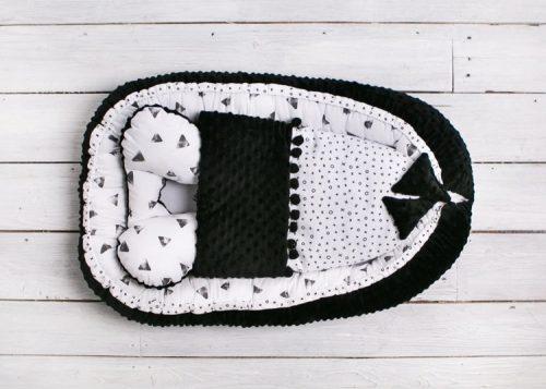 Belisima Kokon, otulacz, gniazdo niemowlęce Sweet Baby Minky z kołderką Czarne trójkąty