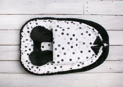 Belisima Kokon, otulacz, gniazdo niemowlęce Sweet Baby Minky z kołderką Czarny w grochy
