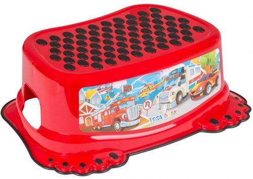 Podnóżek antypoślizgowy dla dzieci kolekcja Auta Tega Czerwony