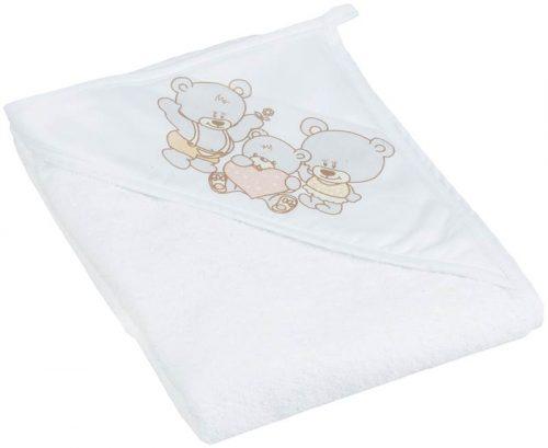 Okrycie kąpielowe bawełniane 100x100 cm Miś firmy Tega Baby Perłowy