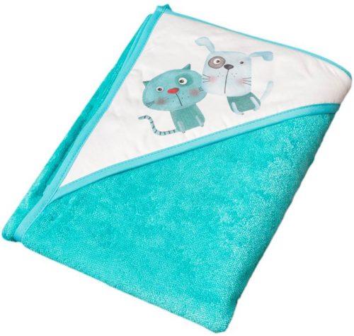 Bawełniane okrycie kąpielowe Kot i Pies 100x100 Tega Baby Niebieski