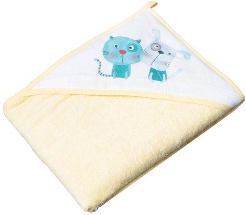 Bawełniane okrycie kąpielowe Kot i Pies 100x100 Tega Baby Żółty