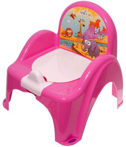 Nocnik krzesełko Safari z pozytywką Tega baby Ciemny Różowy