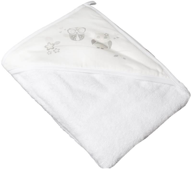 Bawełniane okrycie kąpielowe Sowy 100x100 Tega Baby Biały