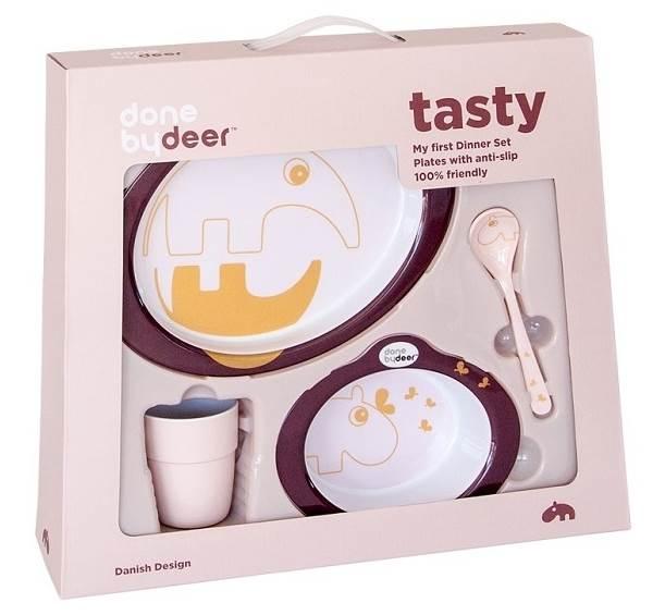 Done By Deer Dots Zestaw Obiadowy Różowy