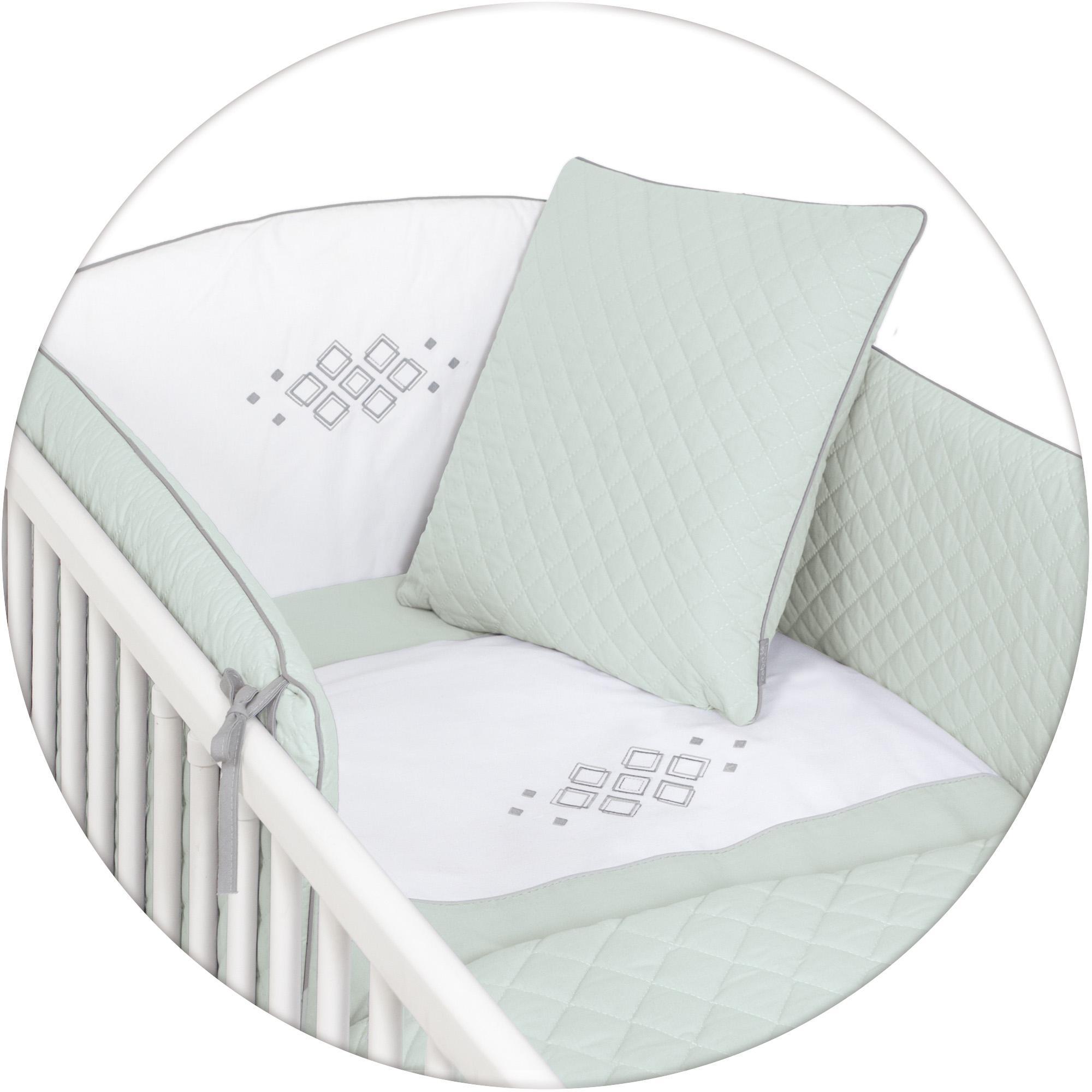 Ceba Baby pościel 5-elementowa Caro - poszewki na poduszeczki i kołderkę, ochraniacz, kocyk Miętowy