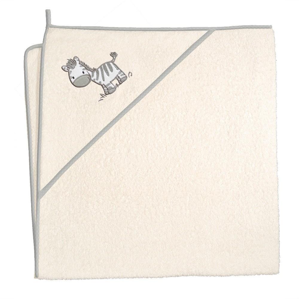 Okrycie kąpielowe z kapturkiem 100x100 cm ręcznik frotte Ceba Baby Zebra beżowa