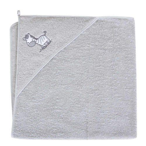 Okrycie kąpielowe z kapturkiem 100x100 cm ręcznik frotte Ceba Baby Zebra szara