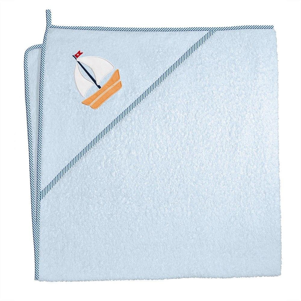 Okrycie kąpielowe z kapturkiem 100x100 cm ręcznik frotte Ceba Baby Marynarski niebieski