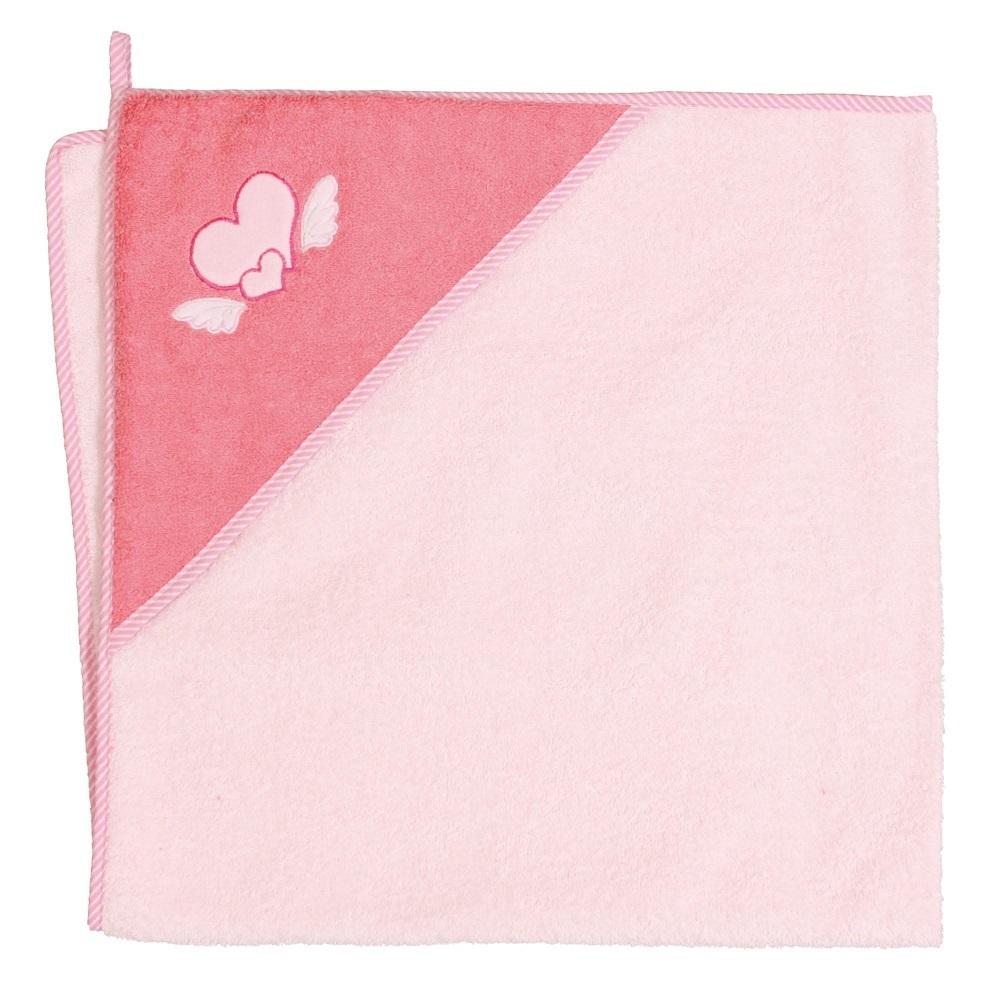Okrycie kąpielowe z kapturkiem 100x100 cm ręcznik frotte Ceba Baby Serduszka różowe