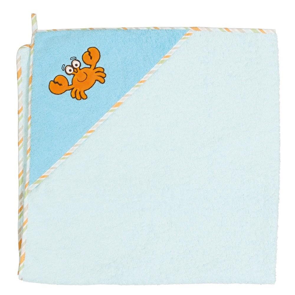 Okrycie kąpielowe z kapturkiem 100x100 cm ręcznik frotte Ceba Baby Krab turkusowy
