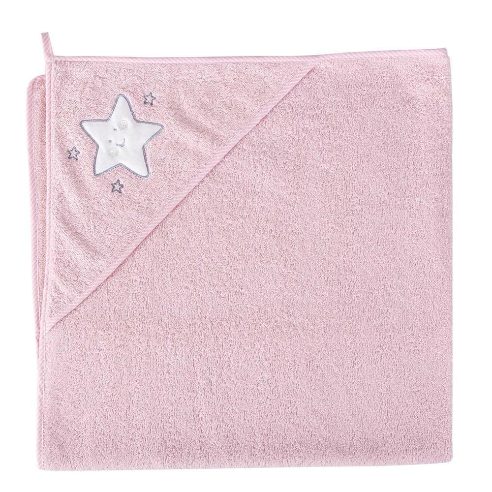 Okrycie kąpielowe z kapturkiem 100x100 cm ręcznik frotte Ceba Baby Gwiazdka różowa