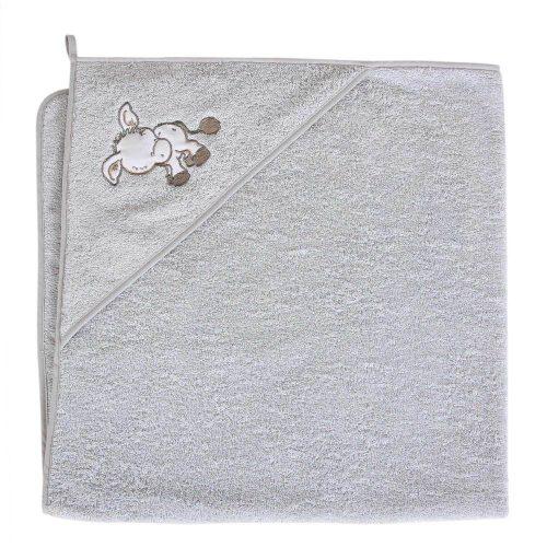 Okrycie kąpielowe z kapturkiem 100x100 cm ręcznik frotte Ceba Baby Osiołek szary