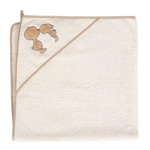 Okrycie kąpielowe z kapturkiem 100x100 cm ręcznik frotte Ceba Baby Noski ecru