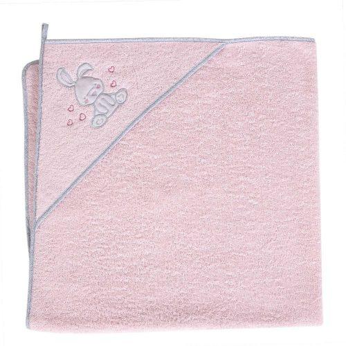 Okrycie kąpielowe z kapturkiem 100x100 cm ręcznik frotte Ceba Baby Króliczek różowy