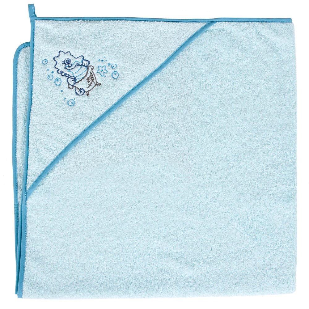 Okrycie kąpielowe z kapturkiem 100x100 cm ręcznik frotte Ceba Baby Konik morski turkusowy