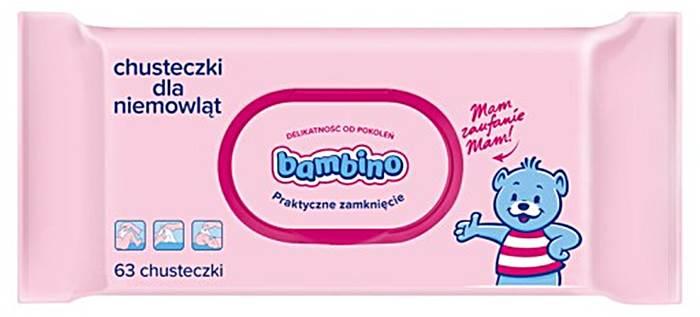 Delikatne chusteczki Bambino dla niemowląt od pierwszych dni życia 63 szt.