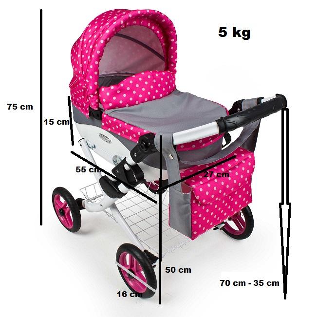 Wózek lalkowy Lily z plastikową gondolą K10