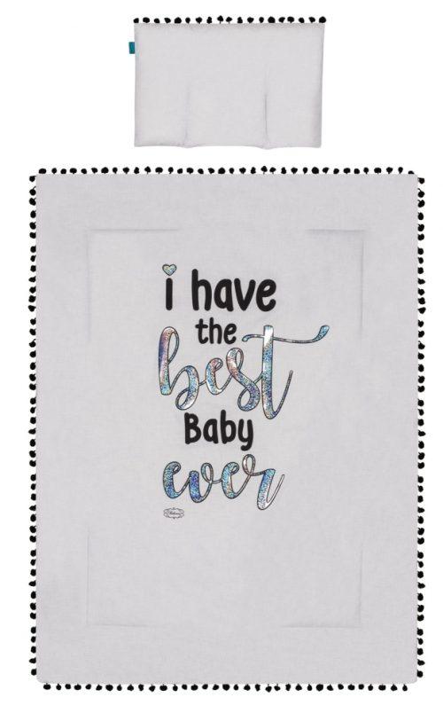 Kołderka + podusia z napisami Belisima Best baby