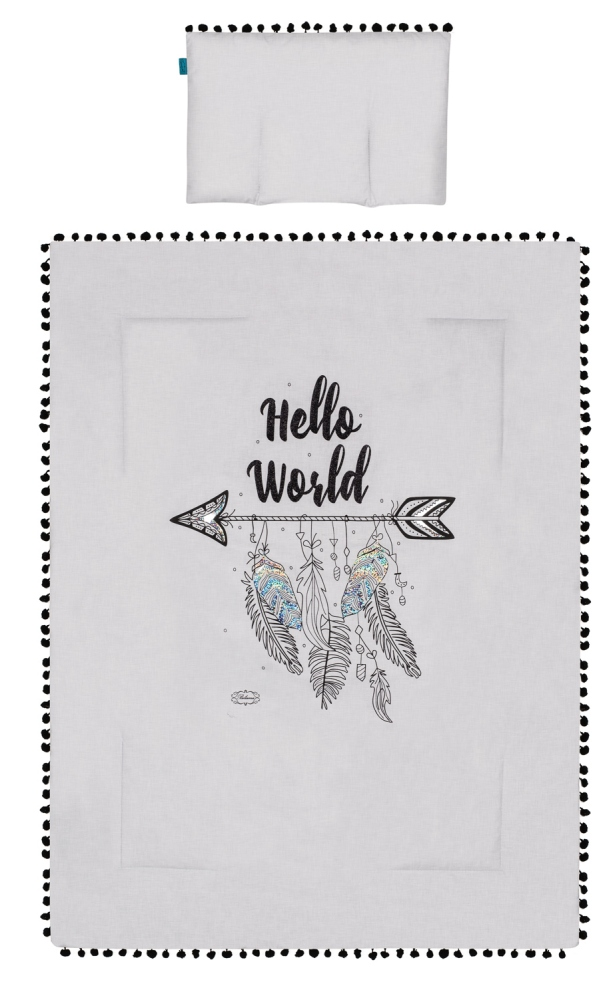 Kołderka + podusia z napisami Belisima Hallo world