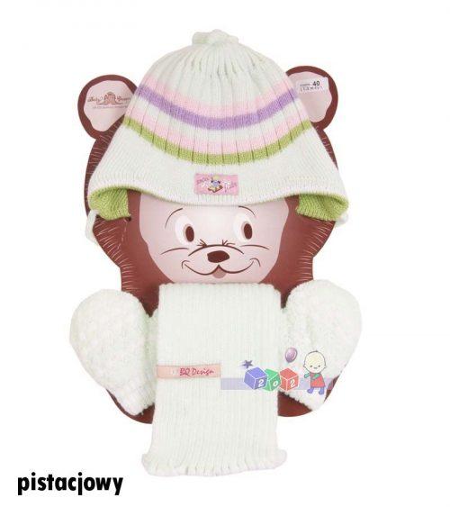Milutki zestaw zimowy czapka w paski + szaliczek + rękawiczki Bazyl rozm 40_Pistacja