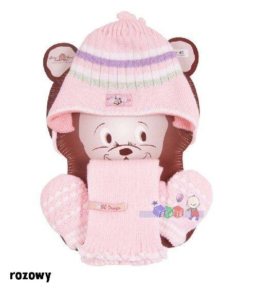 Milutki zestaw zimowy czapka w paski + szaliczek + rękawiczki Bazyl rozm 40 Różowy