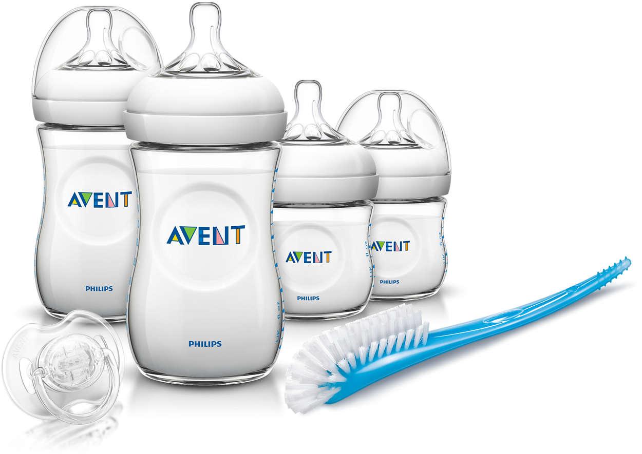 Zestaw startowy Natural dla noworodków Avent Philips SCD290/01 - 4 butelki, szczotka, smoczek