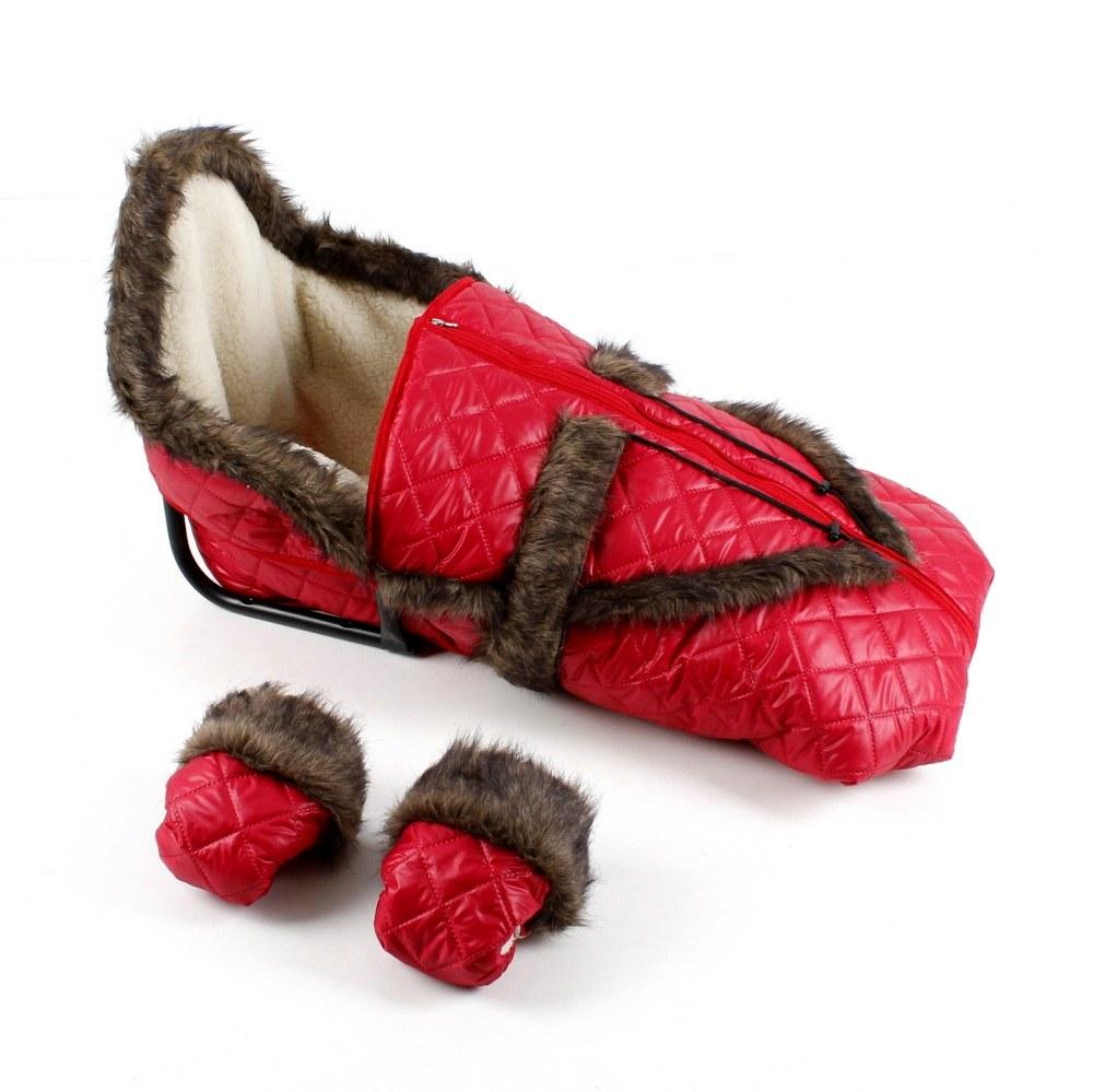 Śpiworek do sanek FOX z owczą wełną i futerkie Kolor Czerwony + Mufki