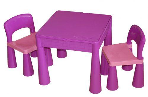 """Zestaw """"Mamut"""" stolik + 2 krzesełka + blat LEGO Tega Baby Fioletowy"""