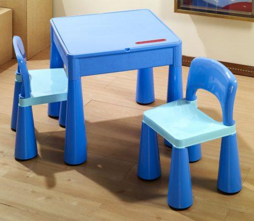 """Zestaw """"Mamut"""" stolik + 2 krzesełka + blat LEGO Tega Baby Niebieski"""