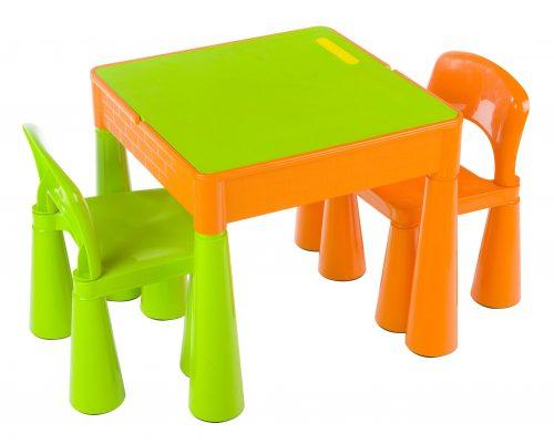 """Zestaw """"Mamut"""" stolik + 2 krzesełka + blat LEGO Tega Baby Pomarańcz–Zielony"""