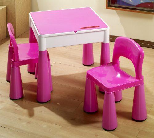 """Zestaw """"Mamut"""" stolik + 2 krzesełka + blat LEGO Tega Baby Różowy"""