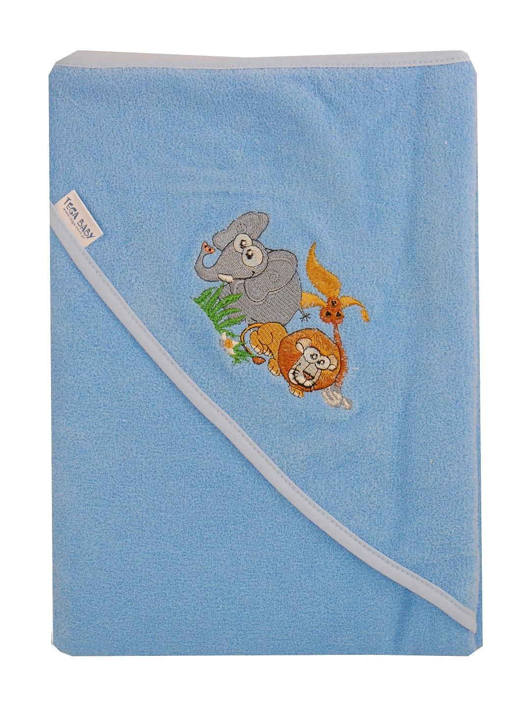 Bawełniane okrycie kąpielowe 80x80 cm Tega Baby z kolekcji Safari Niebieski