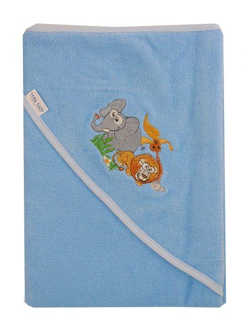 Duże bawełniane okrycie kąpielowe 100x100 cm Tega z kolekcji Safari Niebieski
