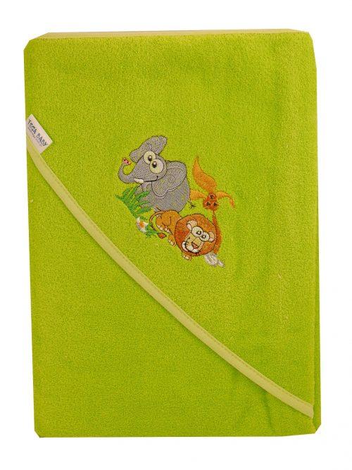 Duże bawełniane okrycie kąpielowe 100x100 cm Tega z kolekcji Safari Zielony