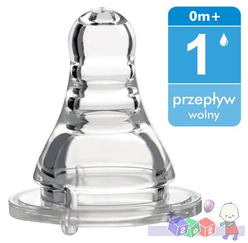 Smoczek silikonowy do butelek standardowych BabyOno Wolny