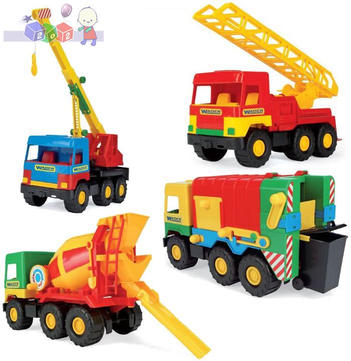 Samochody budowlane 4 modele ok 40 cm Wader 32001