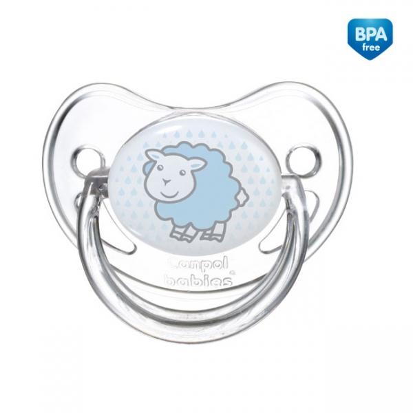Smoczki uspokajające dla dzieci - anatomiczny smoczek silikonowy Transparent 0-6 m Canpol Babies Kolor Niebieski