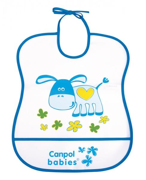 Śliniak plastikowy z kieszonką miękki Canpol Babies kolor Niebieski