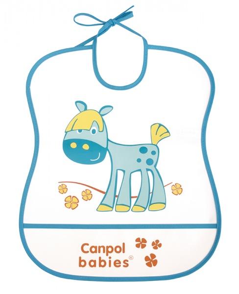 Śliniak plastikowy z kieszonką miękki Canpol Babies kolor Turkusowy
