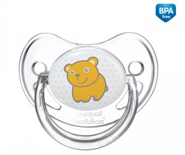 Smoczki uspokajające dla dzieci - anatomiczny smoczek silikonowy Transparent 18m+ Canpol Babies kolor Żółty